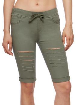 Slashed Bermuda Shorts with Drawstring Waist - 3072072290345