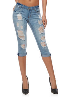 Almost Famous Ripped Roll Cuff Capri Jeans - 3073015990456