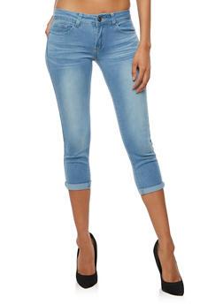 Faded Push Up Capri Skinny Jeans - 3073062701360