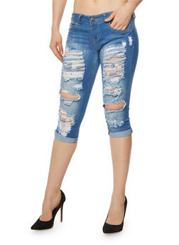VIP Destroyed Capri Jeans - 3073065308733