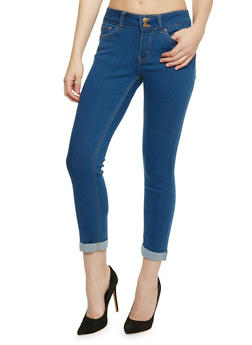 Wax Cuffed Two Button Skinny Jeans - 3073071619003