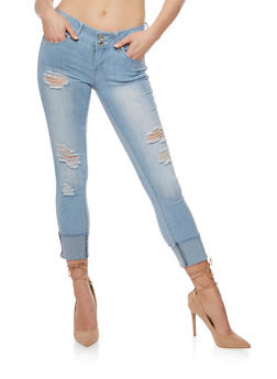 Almost Famous Roll Cuff Distressed Jeans - 3074015990955