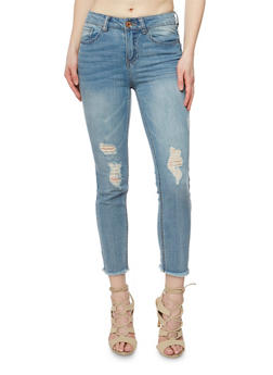 Almost Famous Distressed Skinny Jeans with Frayed Hem - 3074015991019