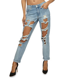 Almost Famous Ripped Roll Cuff Jeans - 3074015991212