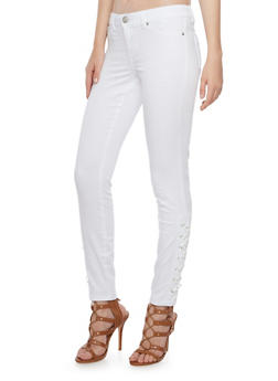 Almost Famous Skinny Pants with Lace Up Trim - 3074015991278
