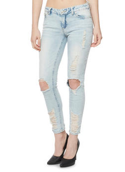 Almost Famous Distressed Skinny Jeans with Ripped Knees - 3074015991511