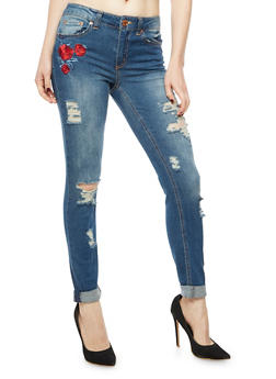 Almost Famous Floral Embroidered Skinny Jeans - 3074015991567