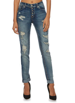 Almost Famous Distressed Skinny Jeans with Colored Stitching - 3074015991708