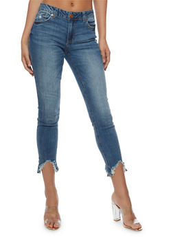 Almost Famous Frayed Hem Skinny Jeans - 3074015991913