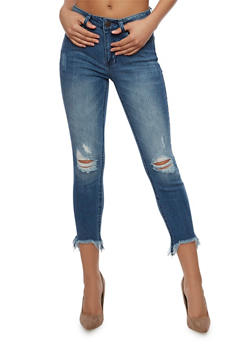 Almost Famous Frayed Cropped Skinny Jeans - 3074015992051