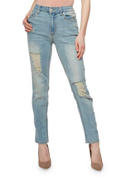 Almost Famous Distressed Whisker Wash Skinny Jeans - 3074015992112