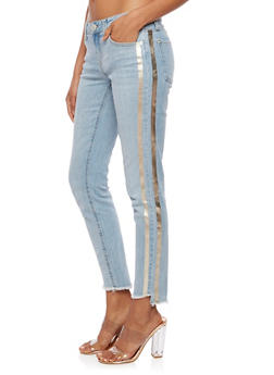 Almost Famous Skinny Jeans with Metallic Stripe - 3074015992351