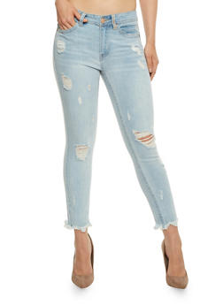 Almost Famous Distressed Cropped Skinny Jeans - 3074015992611