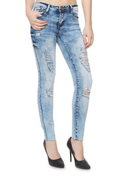 Almost Famous Acid Wash Distressed Skinny Jeans - 3074015993660