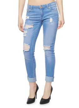 Almost Famous Distressed Skinny Jeans with Rolled Cuffs - 3074015997501