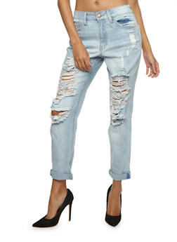 Almost Famous Destroyed Rolled Cuff Skinny Jeans - 3074015999123