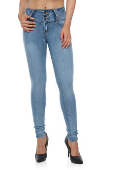 Three Button Jeans with Metal Stud Trim - 3074041757621
