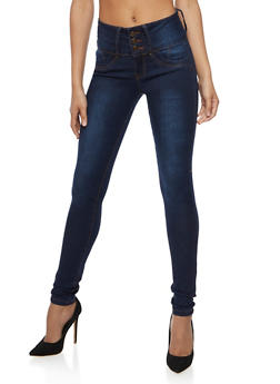 Three Button Jeans with Ruched Back Pockets - 3074041757962