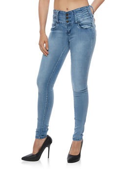 Three Button Pleated Waist Jeans - 3074041757974