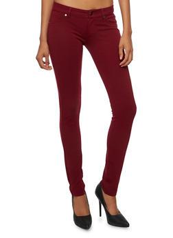 Stretch Fit Skinny Pants - BURGUNDY - 3074054210454