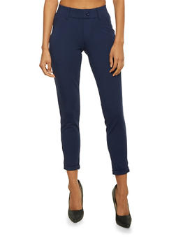 Tailored Pants with Fixed Cuffs - NAVY - 3074056570025