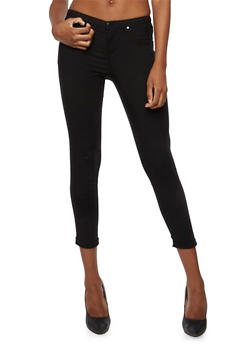 Solid Stretch Jeggings - BLACK - 3074056571500