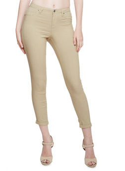 Solid Stretch Jeggings - KHAKI - 3074056571500