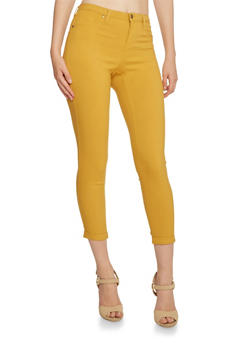Solid Stretch Jeggings - MUSTARD - 3074056571500