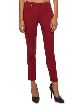 Solid Stretch Jeggings - BURGUNDY - 3074056571500