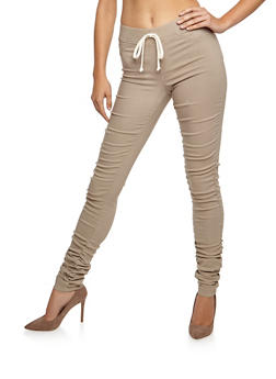 Ruched Skinny Pull On Pants - 3074056572087