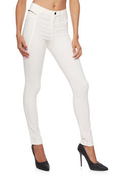 Skinny Pants with Moto Paneling - 3074056572205