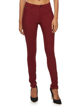 Skinny Pants with Moto Paneling - CABERNET - 3074056572205