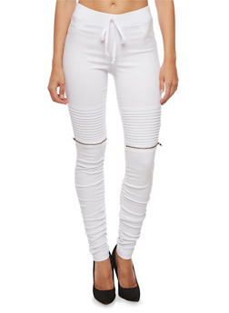 Ribbed Motto Skinny Pants - 3074056572245