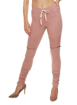 Ribbed Motto Skinny Pants - MAUVE - 3074056572245