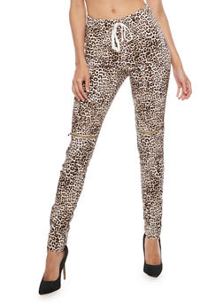 Leopard Zip Moto Ruched Pants - 3074056572247