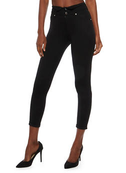 Two Button High Waisted Jeggings - 3074056572319
