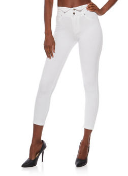 Two Button High Waisted Jeggings - WHITE - 3074056572319