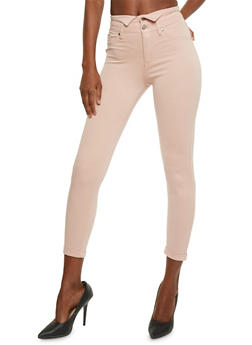 Two Button High Waisted Jeggings - ROSE - 3074056572319