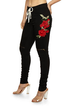 Ruched Moto Pants with Floral Applique - 3074056572345