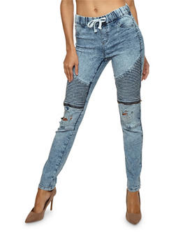 Distressed Denim Moto Jeans with Drawstring Waist - 3074056573891