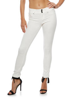 Solid Triple Button Push Up Jeans - 3074056574100