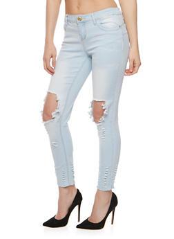 Destroyed Light Wash Skinny Jeans - 3074061652084