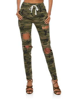 Ripped Camo Joggers - 3074062701570