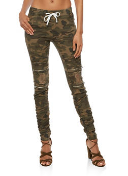 Ruched Camo Moto Jeans - 3074062701572