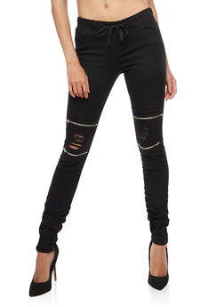Zip Moto Ruched Pull On Pants - 3074062701573