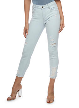 Cello Light Wash Distressed Skinny Jeans - 3074063150422