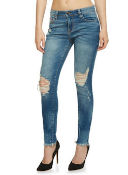 Cello Frayed Hem Skinny Jeans - 3074063151282