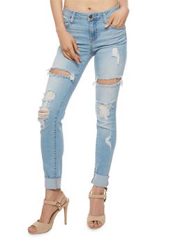 Cello Destroyed Roll Cuff Skinny Jeans - 3074063151485