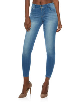 Cello Whisker Wash 2 Button Cropped Skinny Jeans - 3074063151493