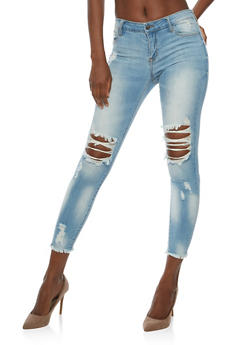 Cello Ripped Knee Cropped Skinny Jeans - 3074063151528